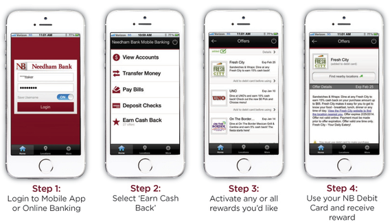 Steps to view and activate cash back offers in NB Mobile displayed on cell phone image