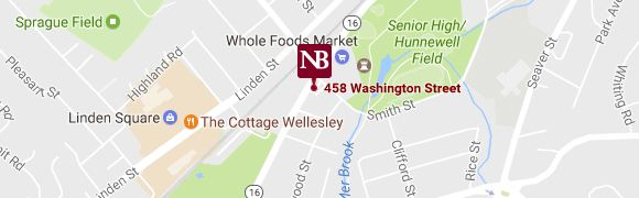 Illustrated map of Wellesley, MA with Needham Bank marker.